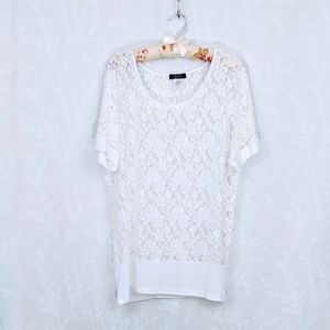 Deb | Sheer Floral Lace Short Sleeve Top | 3X
